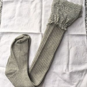 Accessories - New! Lace Top Thigh Highs (Smaller Size) - Gray